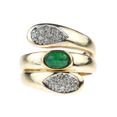 14 kt yellow gold fantasy women's ring set with emerald and diamonds - ring size 16