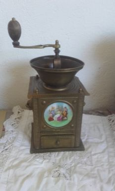 French yellow copper coffee grinder