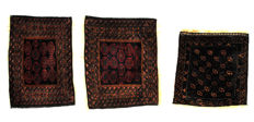 Set of two bag fronts, hand-knotted, Beluch nomads,  plus an extra bag front
