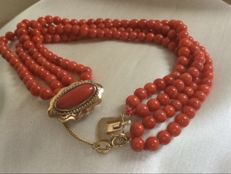Stunningly Beautiful Antique Precious Coral Bracelet.   100% Natural Precious Coral. Exceptionally Beautiful Gold Clasp, Large Precious Coral, four cords