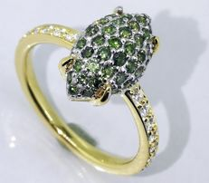 Diamond ring with intense fancy deep green diamonds, 1.00 ct in total - size 55