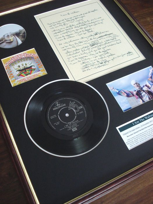 "The Beatles I Am The Walrus original handwritten lyrics display / 7"" vinyl record display"