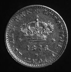 Portugal -- 50 Reis in SILVER -- Luís I -- 1876 -- Lisbon -- AG: 08.09 -- Rare -- No Reserve