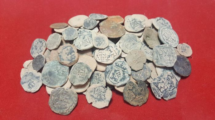 Spain - Lot of 100 Coins from Spanish Colonies of the House of Austria, 1500-1700 A.D. - Europe