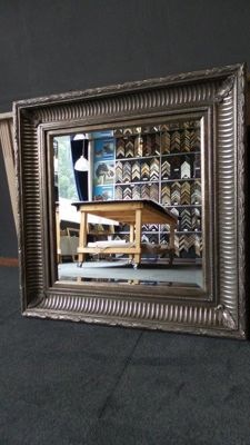 Large wall mirror - facet cut glass - hand gilded - antique silver - beautiful cannelure (grooved) frame