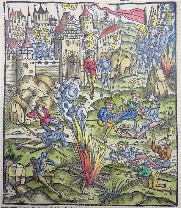 Inunabula woodcut on folio leaf, continental velin - Knights in Battle before Troy, Camp Scene - 1529