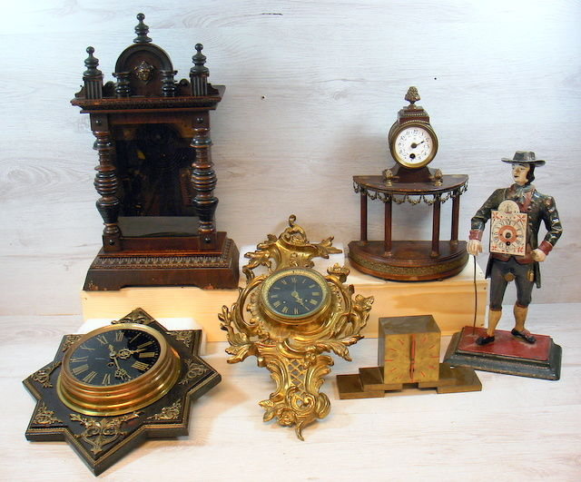 Six various clocks for parts - 19th and 20th century