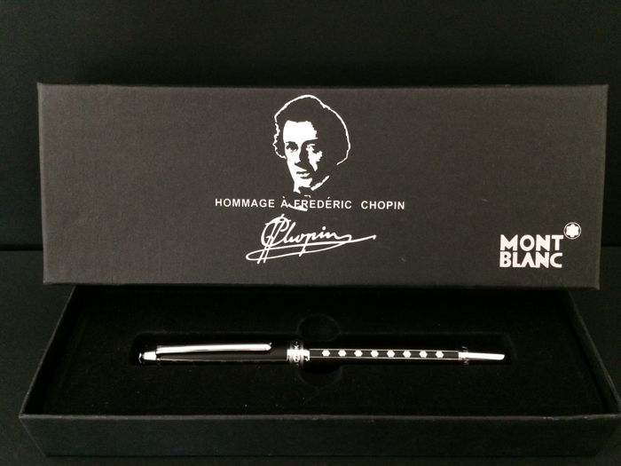 Gorgeous Prestigious Mont Blanc Case in Tribute to Frédéric Chopin, Limited Quantity, Silver Tip