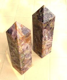 Set Of 2 Pieces Very Large Egyptian Blue Auralite Healing Power Spirit Stone Obelisk Tower - 34 cm - 10200 gm (2)