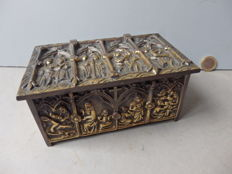 Wonderful heavy relic box in bronze - France - 19th century
