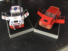 """Solido - Scale 1/18 - Lot of 2 Renault 5 Turbo """"Renault 5 Turbo """"Sodicam"""" & Renault 5 Turbo - Red"""