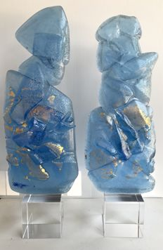 Maxence Parot - Unique pair of sculpture in crystal, 40cm (signed/dated)