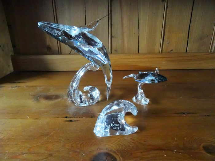 Swarovski Paikea Whale with Wave Plaque and Whale Calf