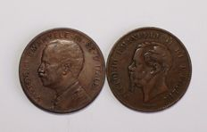 "Italy, Kingdom - 5 cent, 1861 ""Bologna"" - 5 cent, 1908 (2 coins)"