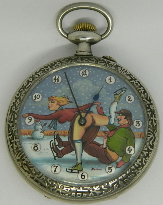 Big size Doxa pocket watch with erotic scene: 'ice skating' - ca 1915