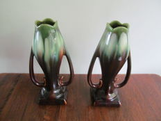 Thulin - a set of pottery Art Nouveau vases in tulip shape