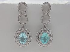 Pair of earrings made with Natural Neon Blue Paraíba Tourmaline in 750 (18 kt) white gold and natural diamonds.