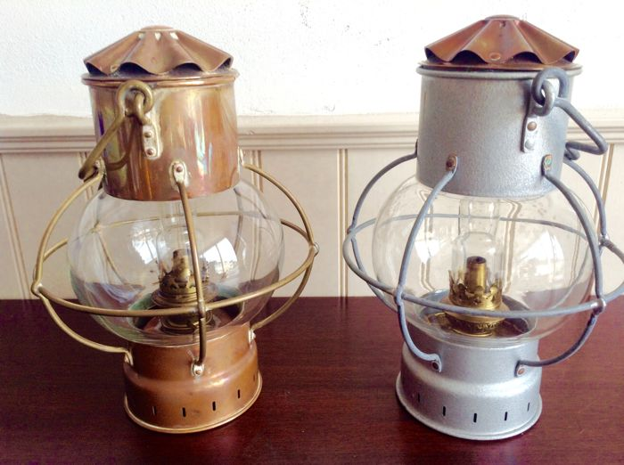 Two antique ship lamps with original burners