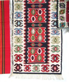 Old Balkan handmade patchwork kilim, 4pcs  - Serbia - Middle of the 20th century