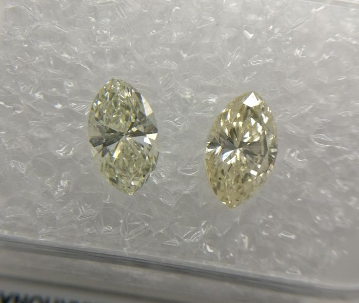 Lot of 2 Marquise cut diamonds total 0.88 ct I-J SI1-SI2