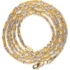 14 kt - Bicolour yellow/white gold twisted link necklace - length: 50 cm