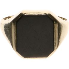 14 kt Yellow gold signet ring set with Onyx - Ring size: 20 mm.
