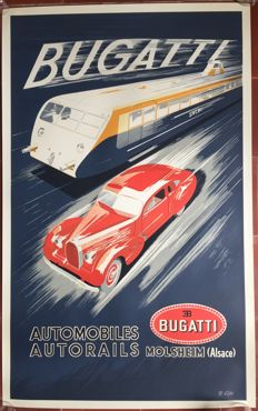 Bugatti Automobiles Autorails poster (1938) - printed in the 1980s.