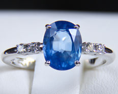 2.63 ct. IGI Certified Untreated Sapphire And Diamonds White Gold Ring.
