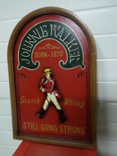 Wooden advertising sign  Johnnie Walker-Scotch Whisky - Born Still Going Strong - 1990s - Great Britain