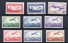 France 1930/36 - Airmail, selection of 9 stamps - Yvert PA from no. 5 to 13