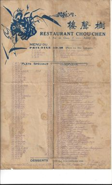 Menu from 1933 from the oldest Asian restaurant in Paris