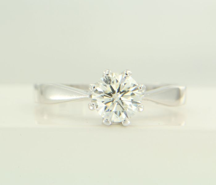 14 kt Gold solitaire ring with 1 brilliant cut diamond, 1.00 ct K VVS2, ring size 18 (57)