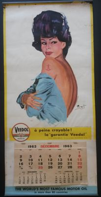 Calendar - VEEDOL MOTOR OIL with pin-up - ca. 1963