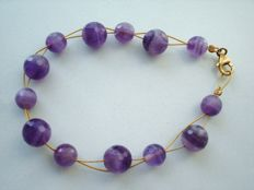 Vintage 1970s - Marked - GP Sterling Silver unisex tennis Bracelet with Genuine Amethyst beads