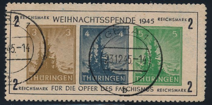 "Soviet zone Thuringia - 1945 ""Christmas block"" on yellowish-grey paper (t) - Michel clock 1 t (III)"
