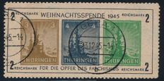 "Soviet zone Thuringia - 1945 ""Christmas block"" on yellowish-grey paper (t) - Michel block 1 t (III) with photo certificate Ströh BPP"