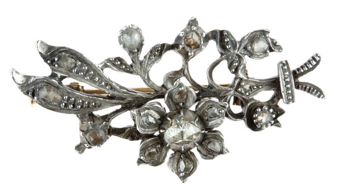 Silver and gold antique vintage brooch fully set with rose diamonds