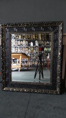 Large mirror with facet - black/ gold - wide ornamental frame