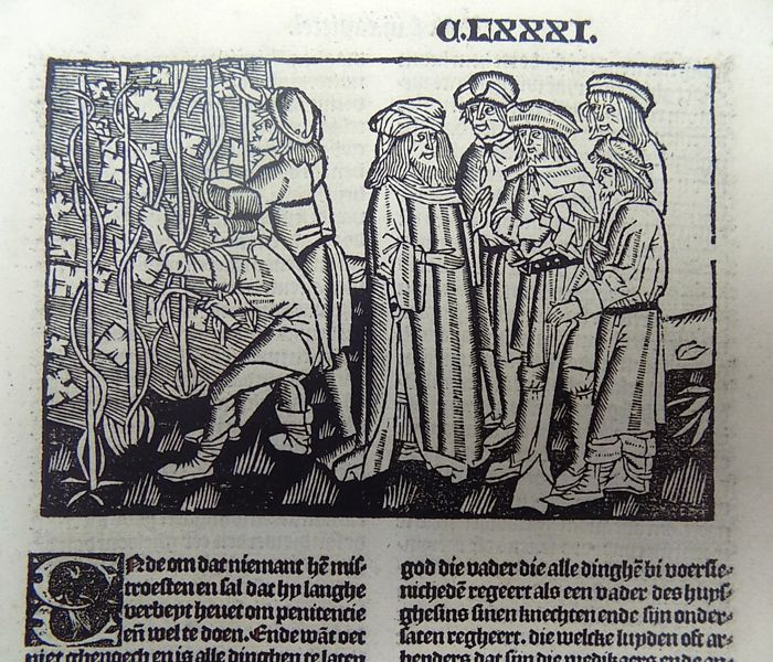 Ludolphus de Saxonia - lnunabula leaf with very large woodcut and woodcut initial - Jesus, Parable of the Workers at the Vineyard, Wine - Boeke ghehiete dat boec van Jhesus Leven - 1488
