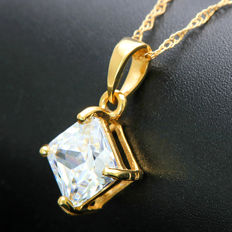 14K Solid Gold Pendant with 1.3 ct Created Moissanite - Size : 14.3 mm x 8.8 mm