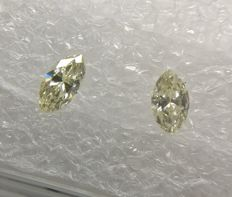 Lot of 2 Marquise cut diamond total 0.21 ct H-I VS1-SI1