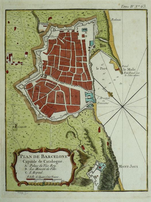 Spain, Barcelona; Jacques Nicolas Bellin - plan de barcelone capitale de catalogne - 1764