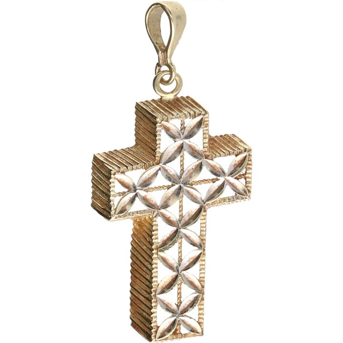 14 kt - Yellow gold pendant in the shaped of a tooled cross - Length x width: 3.7 cm x 1.7 cm