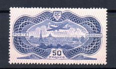 France 1936 - Airmail, plane flying over Paris, 50f. overseas - Yvert no. 15