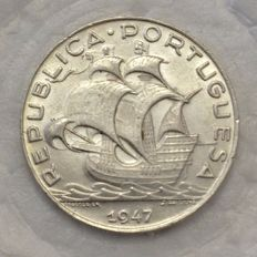 Portugal -- Republic -- 5$00 -- 1947 -- Silver -- Fantastic