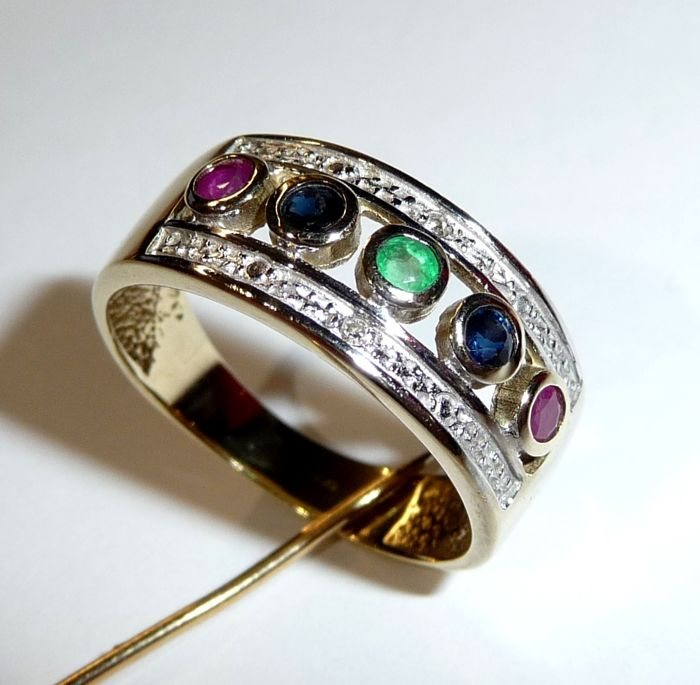 8kt 333 gold wide band ring with gemstones Diamond ruby emerald