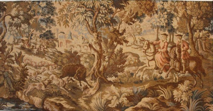 """ La chasse aux sangliers"" -  large tapestry in the taste of Aubusson 100% cotton on panel - France - twentieth century."