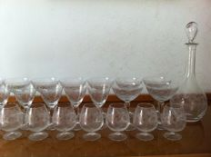 Antique set of glasses in Murano crystal