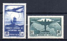 France 1936 - Travelling over the South Atlantic signed Calves - Yvert no. 320 and 321