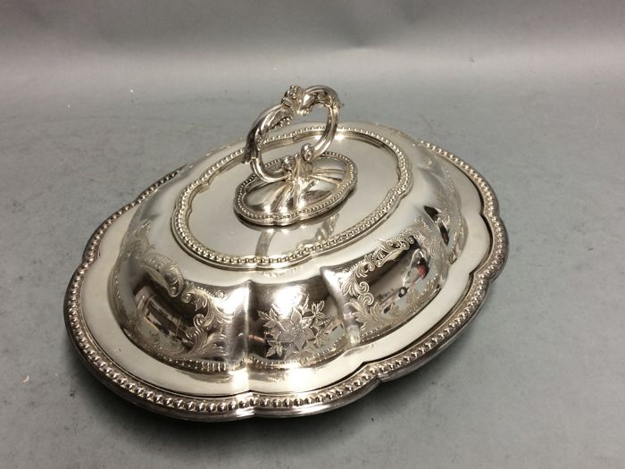 AA silver plated double serving tray with detachable knob, Joseph Rodgers & Son, England, ca. 1885